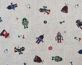 Robots - Japanese Cotton/Linen Blend - Fat Quarter