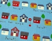 FREE SHIPPING Houses in France Fabric - Japanese Cotton Quilting Fabric - Fat Quarter SALE