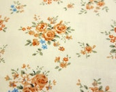 FREE SHIPPING Japanese Cotton Fabric - Yellow Bouquet on Cream -  Half Yard