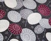 Japanese Cotton Fabric - Traditional Umbrellas in Maroon and Gray - Half Yard LAST PIECE