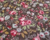Japanese Floral Fabric - Tiny Roses on Brown - Half Yard