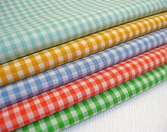 Rainbow Gingham Fabric - Japanese Cotton Fabric - Fat Quarter Fabric Bundle of 5 Colors