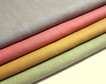 Japanese Fabric - Cotton Fabric Pastel Solids - Fat Quarter Fabric Bundle of 4 Colors