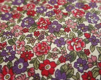 Japanese Cotton Fabric - Purple and Red Floral Fabric - Half Yard