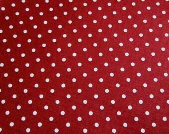 SALE Japanese Cotton Fabric - Dark Wine Red Polka Dots - Half Yard