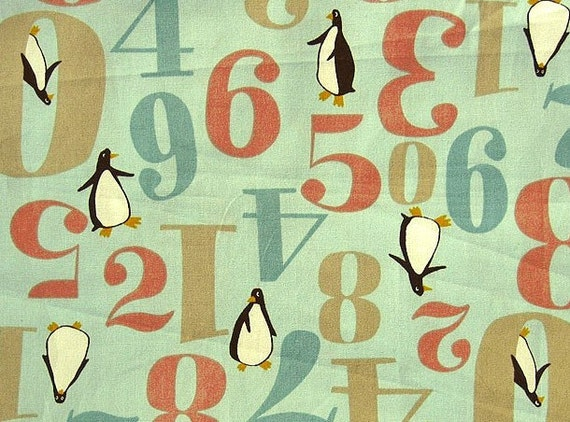 SALE Mr. Penguin and His Numbers - Japanese Cotton Fabric - Fat Quarter