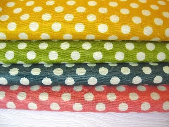 Japanese Cotton Fabric - Polka Dots - Fat Quarter Bundle of 4 Colors