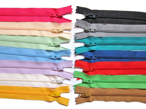 YKK Zippers in Assorted Colors Set of 14 Colors Zippers - 4 Inch / 5 Inch / 6 Inch / 7 Inch / 8 Inch