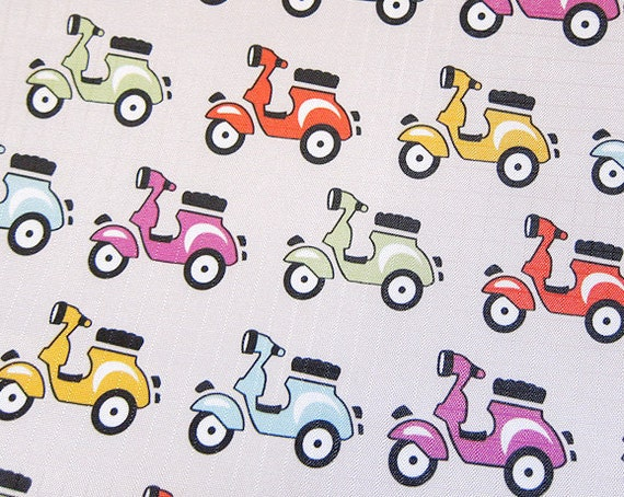 Waterproof Fabric - Colorful Scooters on Gray - Fat Quarter