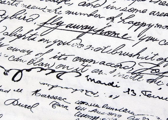 Cotton Fabric - Cursive Handwriting - Half Yard LIMITED YARDAGE