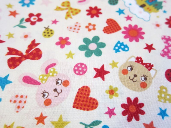 FREE SHIPPING Rabbits and Cats Fabric - Kawaii Cotton Fabric (F065) Fat Quarter