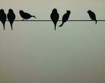 Birds On A Wire vinyl lettering art decal wall sticker