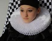 White Organza   Ruff   Black Pierrot Pierrot Collar