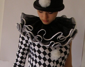 Black  Organza ruffled collar  HARLEQUIN - ARLECCHINO  Commedia dell'arte By CostumeRenaissance