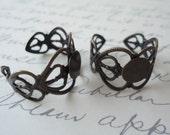 10 Antique Bronze Adjustable Heart Filigree Ring Blank Finding DIY Ring 17mm