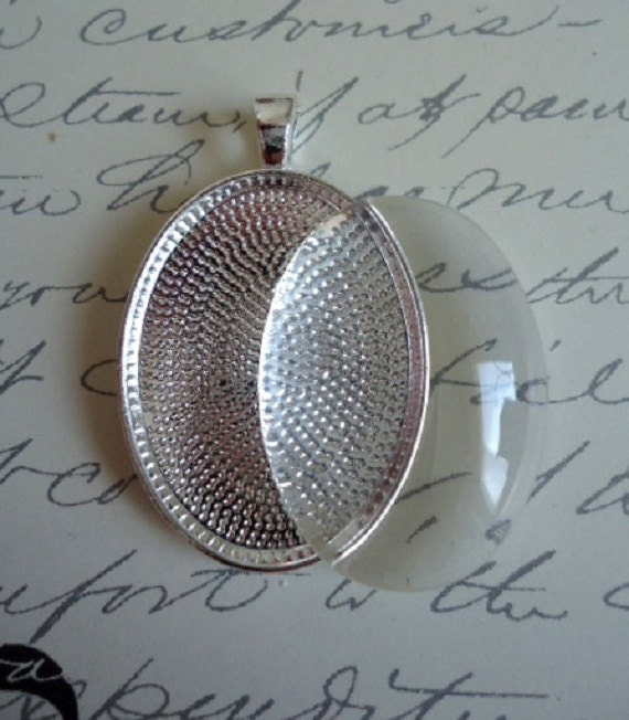 20 Sterling Silver Plated Oval Blank Pendant Trays 22x30mm