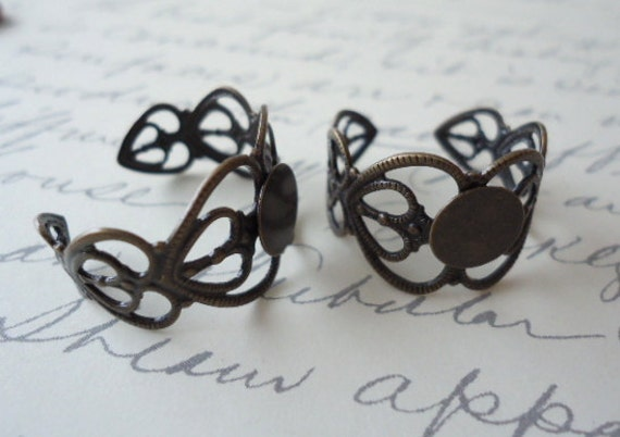 10 Antique Bronze Adjustable Heart Filigree Ring Blank Finding DIY Ring 17mm