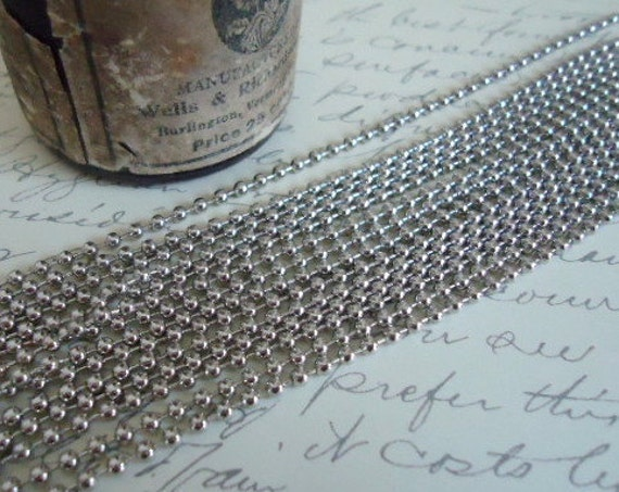 10 Antique Silver Ball Chain with Connectors 24 inches long
