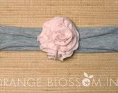Fabric Flower Headband - Soft Pink on Grey Jersey