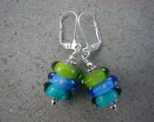 Caribbean Waters---Lampwork Stacker Earrings