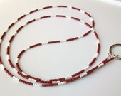 Crimson and White Glass Beaded ID Badge Holder Lanyard with Ring