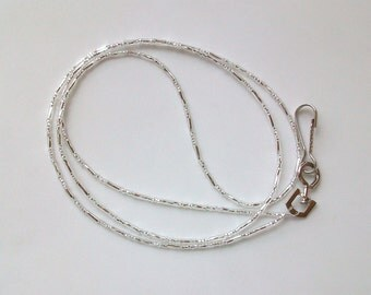 Twisted Silver Glass Beaded Badge Holder Lanyard