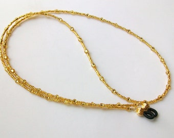 Gold Topaz Glass Beaded Eyeglass Chain