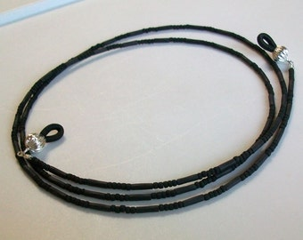 Twisted Black Matte Glass Beaded Eyeglass Chain - Necklace