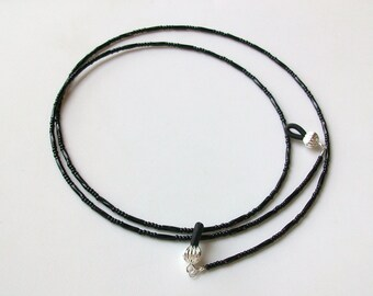 Twisted Black Glass Beaded Eyeglass Chain - Necklace