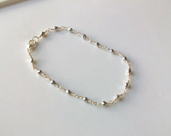 Silver Czech Crystal Wire Wrapped Chain Link Anklet - Ankle Bracelet