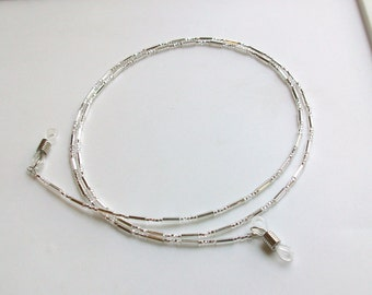 Silver Glass Beaded Eyeglass Chain - Necklace - Adjustable Grips