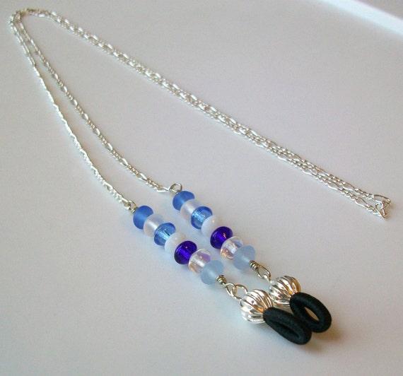 Glacier Blue Czech Crystal Eyeglass Chain - Leash - Lanyard