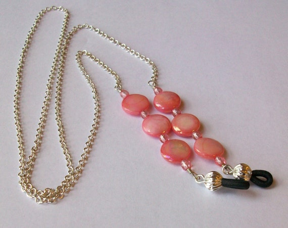 Rose Czech Crystal and Salmon AB MoP Eyeglass Chain