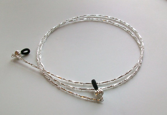 Twisted Silver Glass Beaded Eyeglass Chain