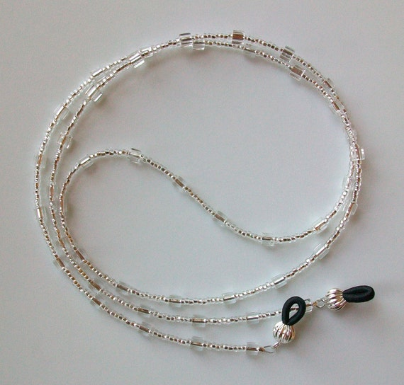Silver Cube Glass Beaded Eyeglass Chain