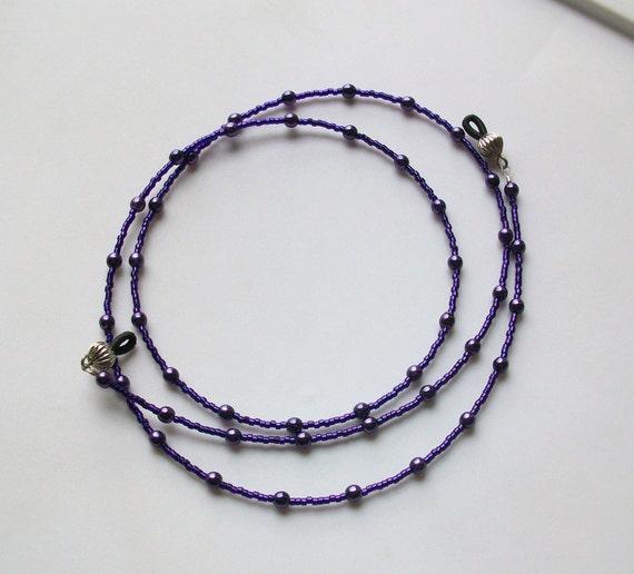 Dark Purple Glass Pearl Beaded Eyeglass Chain