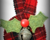 Sleigh Bell Door Hanger with Holly Leaves