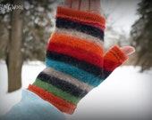 Fingerless gloves -- recycled wool and recycled cashmere -- Fabulous Stripes