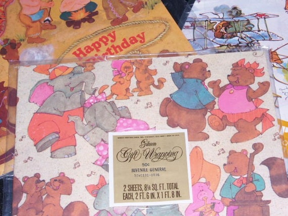 Vintage Retro Wrapping Paper 3 Packages New Old Stock Unopened Art Craft SupplyFrom littleofeverything