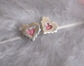 Sugarcookie series- Heart earrings- sterling silver studs- free shipping