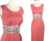 Reserve Vintagealamode  Vintage Sheath Dress - 50s Obe Belt Rose Pink Sleeveless Cocktail Dress  - size Medium