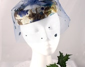 Vintage Hat - 50s Blue Bird Cage Veil Hat with Glittery Gold and Velvet - Mermaid Socialite