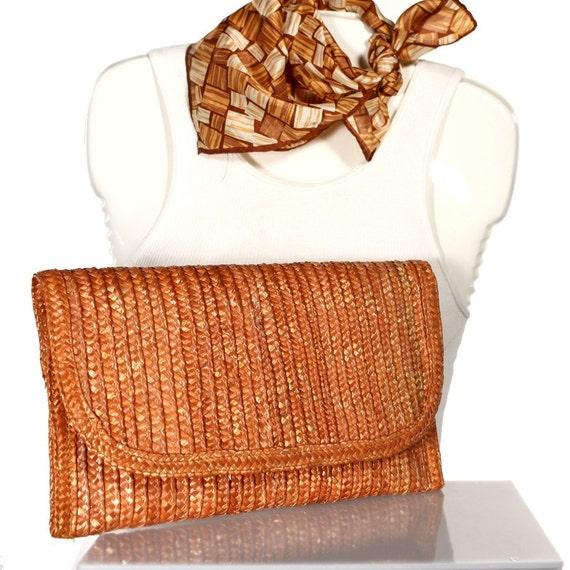 1960s Clutch Purse w Mod Scarf - Vintage Orange Straw Bag