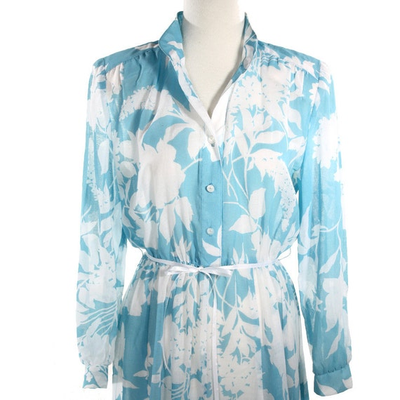 Floating Clouds Vintage Shirtwaist Dress - Semi Sheer Floral - size Medium