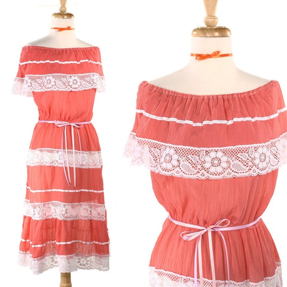 Pink Fiesta Vintage Dress - Ethnic Cotton Ruffle Peasant Dress - size Small to Medium