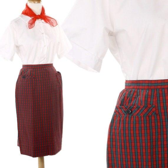 vintage skirt 50s apple plaid and green pencil skirt