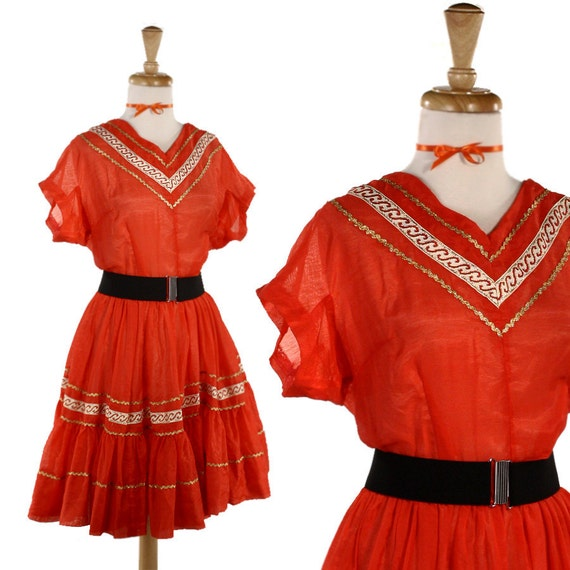 Western Swing  Party Dress - Red w Gold Ric Rac Vintage - size Medium to Large
