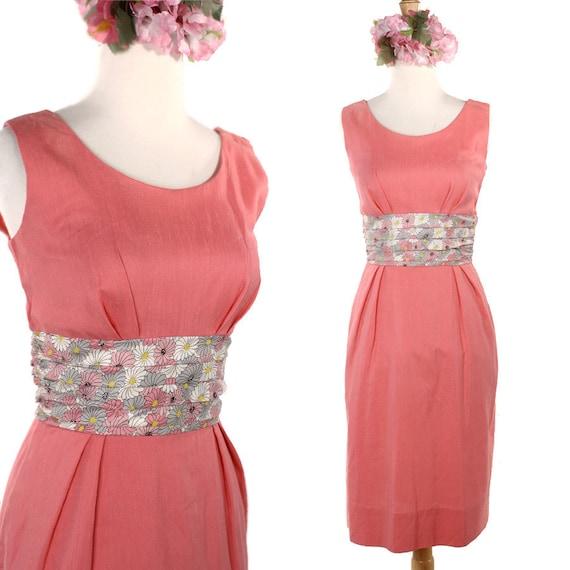 Reserve Vintagealamode  Vintage Sheath Dress - 50s Obe Belt Rose Pink Sleeveless Cocktail Dress  - size Medium