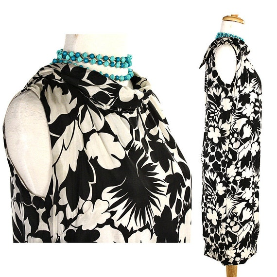 1960s Mod Silk Sheath Dress - Graphic Op Art Black & White Floral Print Vintage - size Medium