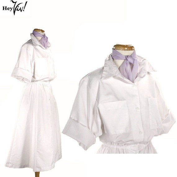 Vintage White Uniform Dress - Nurse or Medical Staff - size Small Medium